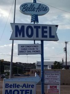 This is the very classy Belle Aire Motel that Aaron and I stayed at in Globe, AZ