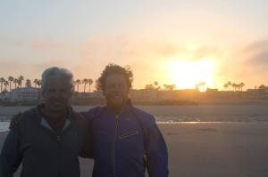 Steve Carter and I at the starting line in Huntington Beach, California